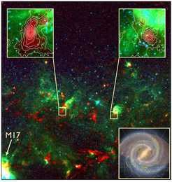 The ATLASGAL survey coverstwo thirds of the surface area of the Galaxy within 50,000 light years of the Galactic center. Thus it includes practically all (97%) of the star-formation within the Solar Circle, i.e. the inner Galaxy. The image displays a part of ATLASGAL, a region located between the giant molecular complexes called W33 and M17 in the Sagittarius constellation. Zooms in color scale show the 3-color emission from the mid-infrared GLIMPSE survey, and sub-millimeter dust emission from ATLASGAL is shown in red and traced with contours. One region corresponds to a cold, pristine massive clump (upper left inset), and another one to a young massive star (upper right inset). Both objects have sizes of only a few light-years across. In the lower right inset we present a schematic of the Milky Way and show the position of the Solar Circle (green) and region of the Galaxy covered by ATLASGAL (shaded region).
