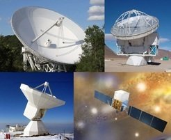 <p><em>Telescopes utilized for the data acquisition in the radio and y-ray regime. Clockwise from upper left: Effelsberg 100m, APEX 12m, Fermi </em><em>g</em><em>-ray observatory and IRAM 30m.</em></p>