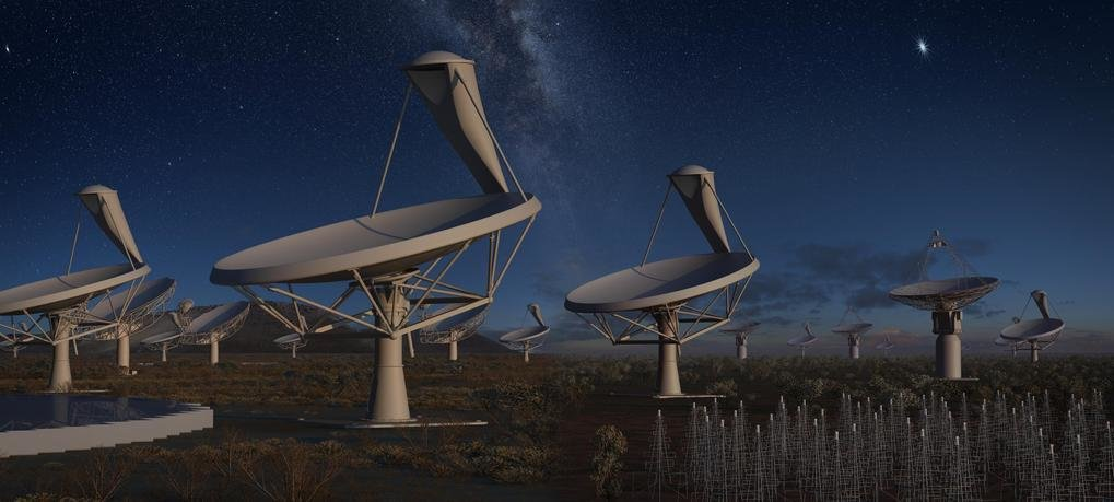 <em><em>Artist's impression of </em>the Square Kilometre Array (SKA) at night. <br /></em>