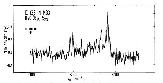 First discovery of an extragalactic water maser (1977)