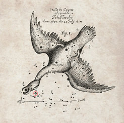 The nova of 1670 recorded by Hevelius. This chart of the position of a nova that appeared in the year 1670 was recorded by the famous astronomer Hevelius and was published by the Royal Society in England in their journal Philosophical Transactions.