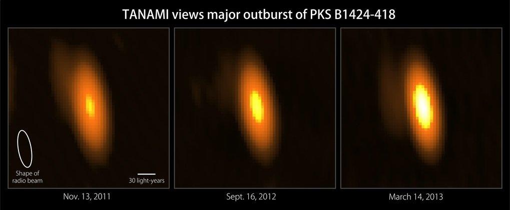 Ilustración 1 - Radioimágenes del blázar PKS B1424-418 obtenidas mediante la técnica conocida como VLBI.  El brillo aumentó en un factor 4, el cambio más importante observado en todas las fuentes del programa TANAMI.  © TANAMI