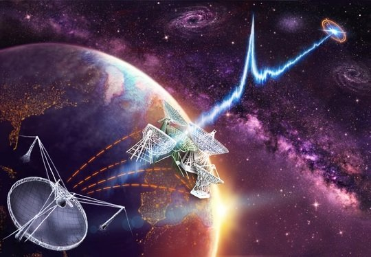 "<p class=""Body""><em>A number of radio telescopes were used within the European VLBI Network (EVN) to observe FRB 121102 (Artist's impression). </em></p> <p class=""Body""><em> </em></p>"