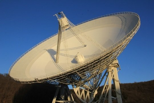 <div> <p><em>The 100-m radio telescope near Bad Münstereifel-Effelsberg. The observations of polarized radio emission from galaxy clusters were performed with this telescope at wavelengths of 3 and 6 cm. </em></p> </div> <em><br /> <br /> </em>