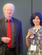 "IMPRS alumna Biagina Boccardi received the Otto Hahn Medal together with the Otto Hahn Award from the MPG vice president Ferdi Schüth. She did her research on ""The two-sided relativistic outflow in Cygnus A: extragalactic jet physics at extreme spatial resolution"" under Thomas Krichbaum's supervision in the VLBI group.photo: ©Matthias Eimer for Max-Planck-Gesellschaft"
