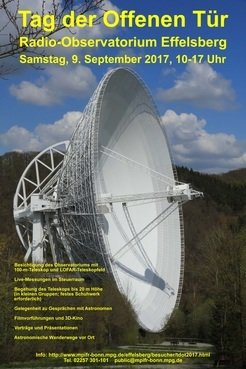 Open Day Poster: the 100 m radio telescope in maximum tilted position, seen from the visitors' pavilion. On September 09, the area of the observatory will be accessible via two different foot paths, both starting at the pavilion: 1) road to the main entrance; 2) zigzag path to the viewing spot and further on to the back entrance near the LOFAR field.
