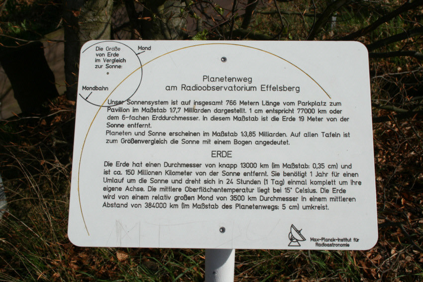 "<p>Planetary Walk at Effelsberg: Station ""Earth"".</p>"