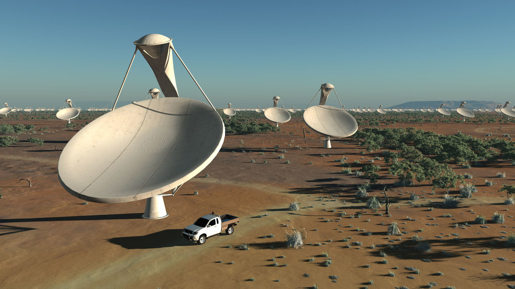 A large array of parabolic 15 m dishes for the medium and high-frequency range (about 350 MHz to 14 GHz).