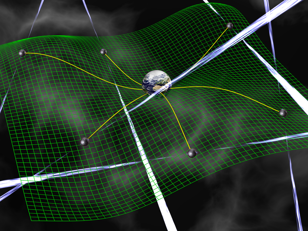 Artistic impression of the Pulsar Timing Array experiment to detect gravitational waves.