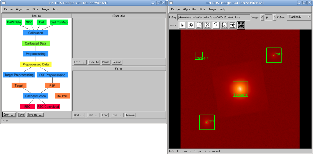 Left: the main window of the LINC-NIRVANA Data Reduction Software. Right: the image GUI.