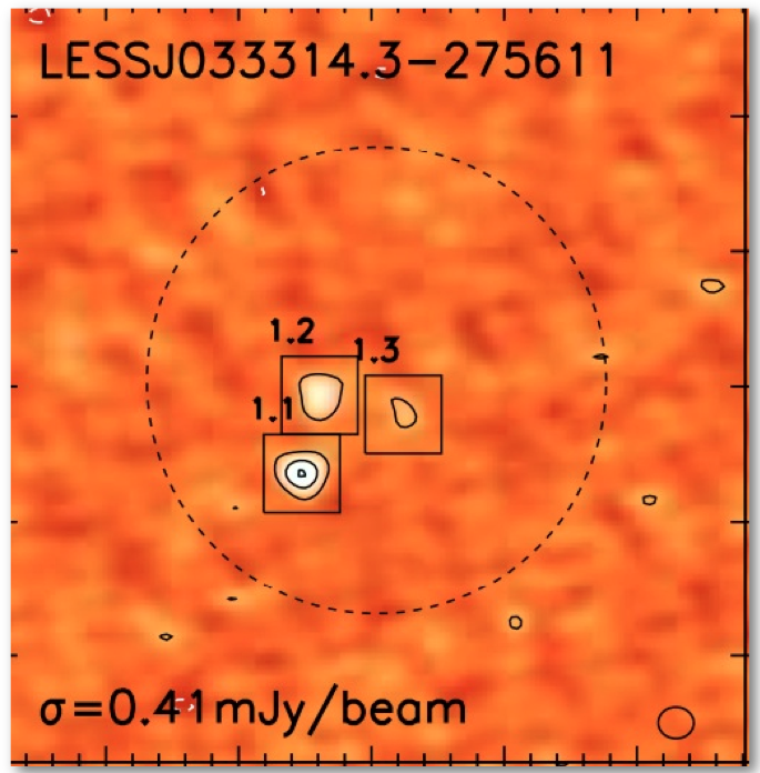 Based on our initial low-resolution observations from the LESS survey we have awarded ALMA observing time in Cycle-0 to produce the first complete high-resolution follow-up catalog of 126 SMGs in LESS. Our 870μm survey with ALMA has produced maps ∼3× deeper and with a beam area ∼200× smaller than the original LESS observations, doubling the current number of interferometrically–observed submillimeter sources. The high resolution of these maps allows us to resolve sources that were previously blended and accurately identify the origin of the submillimeter emission. We show that our ALMA-derived SMG counts broadly agree with the submillimeter source counts from previous, lower-resolution single-dish surveys, demonstrating that the bulk of the submillimeter sources are not caused by blending of unresolved SMGs. The difficulty that well-constrained theoretical models have in reproducing the high- surface densities of SMGs, thus remains. However, our observations do show that all of the very brightest sources in the LESS sample, S870μm > 12 mJy, comprise emission from multiple, fainter SMGs, each with 870μm fluxes of <∼ 9 mJy.