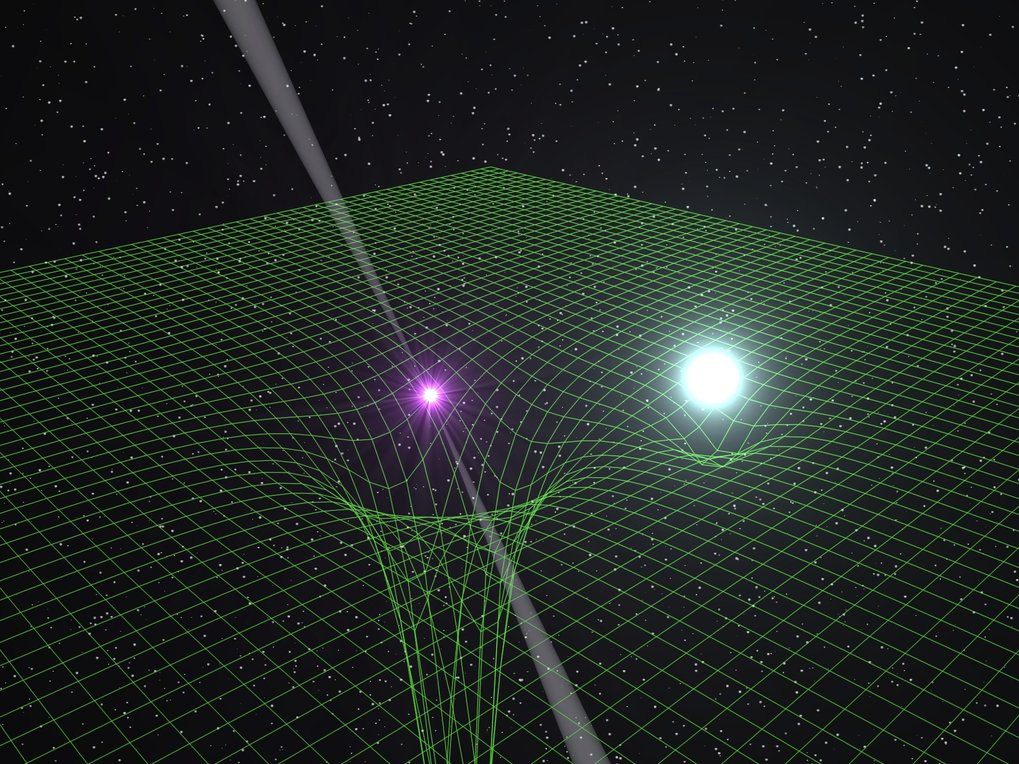 An artist's impression of the PSR J0348+0432 binary system. The pulsar (with radio beams) is extremely compact, leading to a strong distortion of space-time (illustrated by the green mesh). The white-dwarf companion is shown in light-blue.