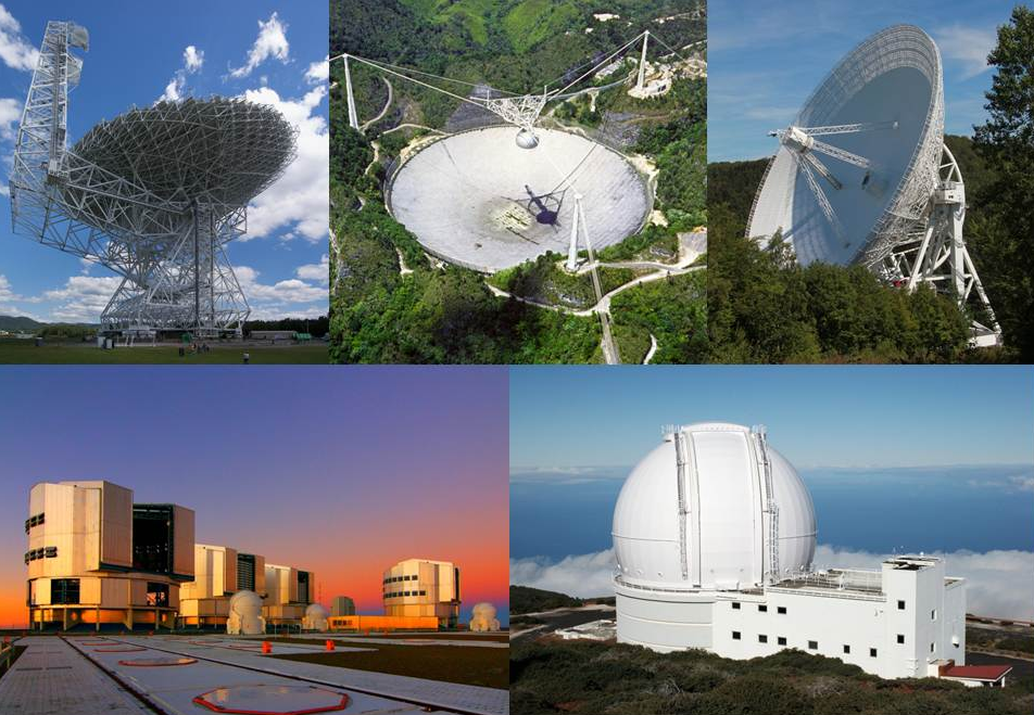 The radio and optical telescopes used to observe the pulsar-white dwarf binary system PSR J0348+0432. Upper row (from left): Radio telescopes: Green Bank (GBT), Arecibo and Effelsberg; Lower row (from left): Optical Telescopes: ESO Very Large Telescope (VLT), William-Herschel Telescope (WHT).