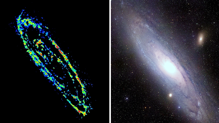 Left: Distribution of cold gas (CO) in the Andromeda Galaxy (M31). Right: Optical image of M31. In both images: north is up, east is left.
