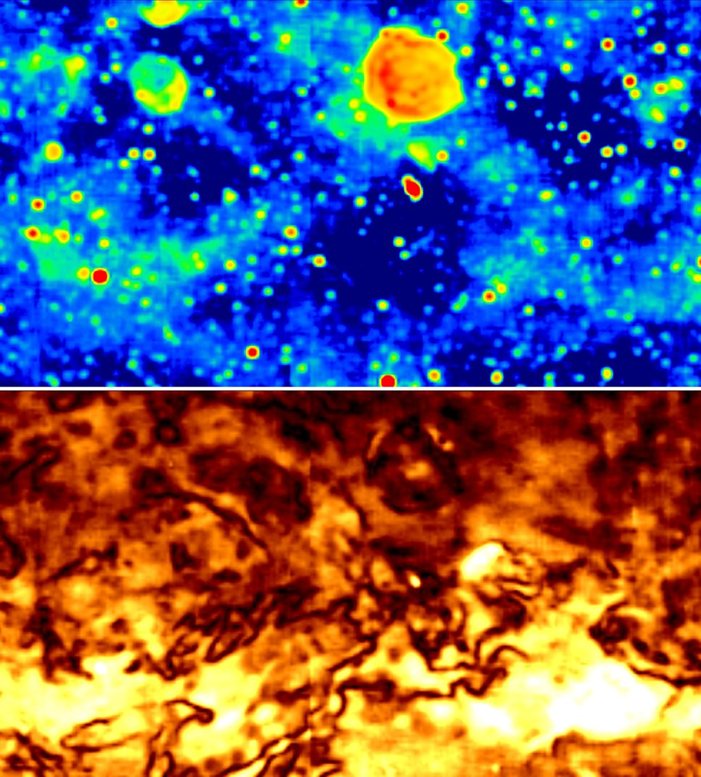 Total intensity (top) and polarised (bottom) emission at 1.4 GHz in the anti-centre area