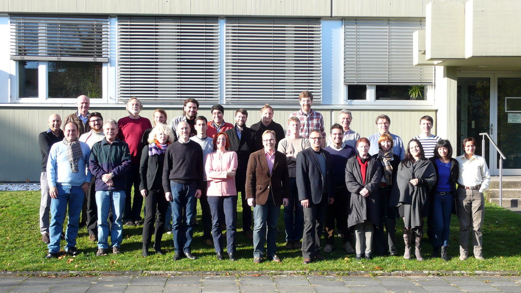 VLBI Department Picture, taken in November 2013.  Among others, from top left to bottom right: E. Angelakis, Eduardo Ros, Thomas P. Krichbaum, I. Myserlis,  S. Britzen, Alan L. Roy, Vassilis Karamanavis,  Eric Clausen-Brown, Lars Fuhrmann, Tuomas Savolainen, Uwe Bach, James Anderson, J.A. Zensus, Jan Wagner, Bindu Rani.