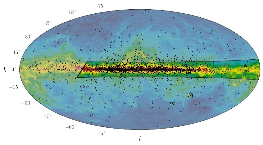 All-sky radio image at 408 MHz with overlaid pulsar positions. Most pulsars (black dots) are found in the Galactic plane (the horizontal axis). The new receivers in combination with the MeerKAT radio observatory will search the area shown by the black box for unusual pulsar systems that can be used as laboratories for fundamental physics.