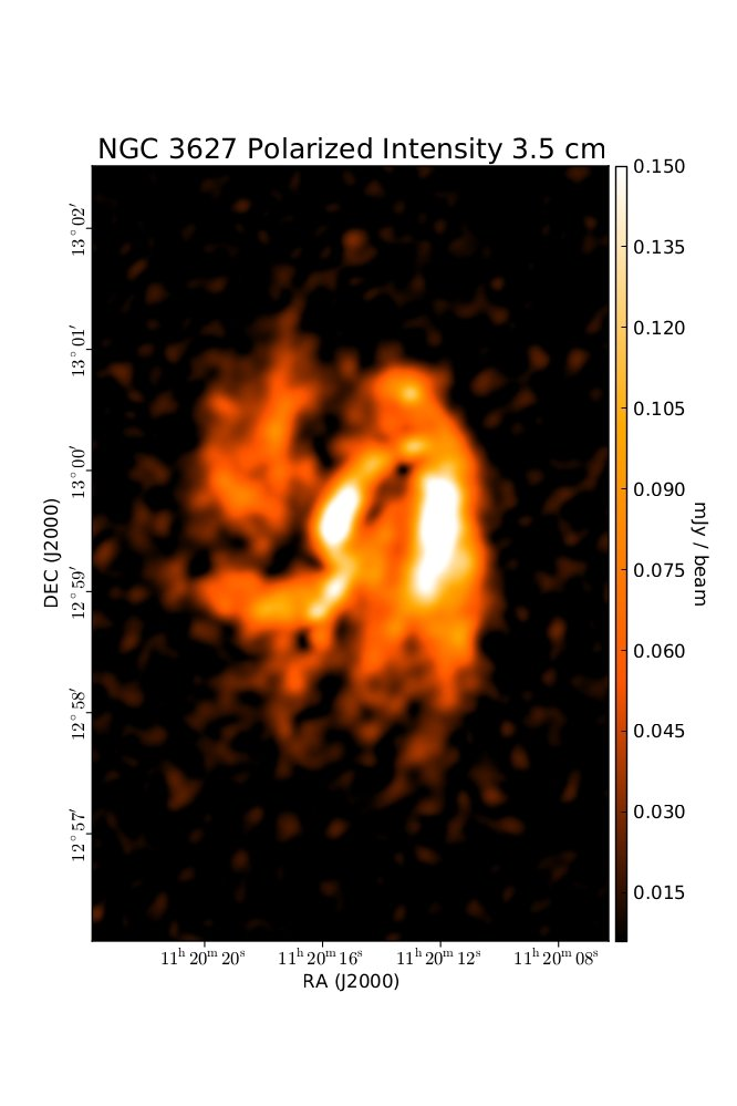 Polarized Intensity at 3.5 cm (8.46 GHz), Combination of VLA and Effelsberg, Resolution 11'', Soida et al. 2001