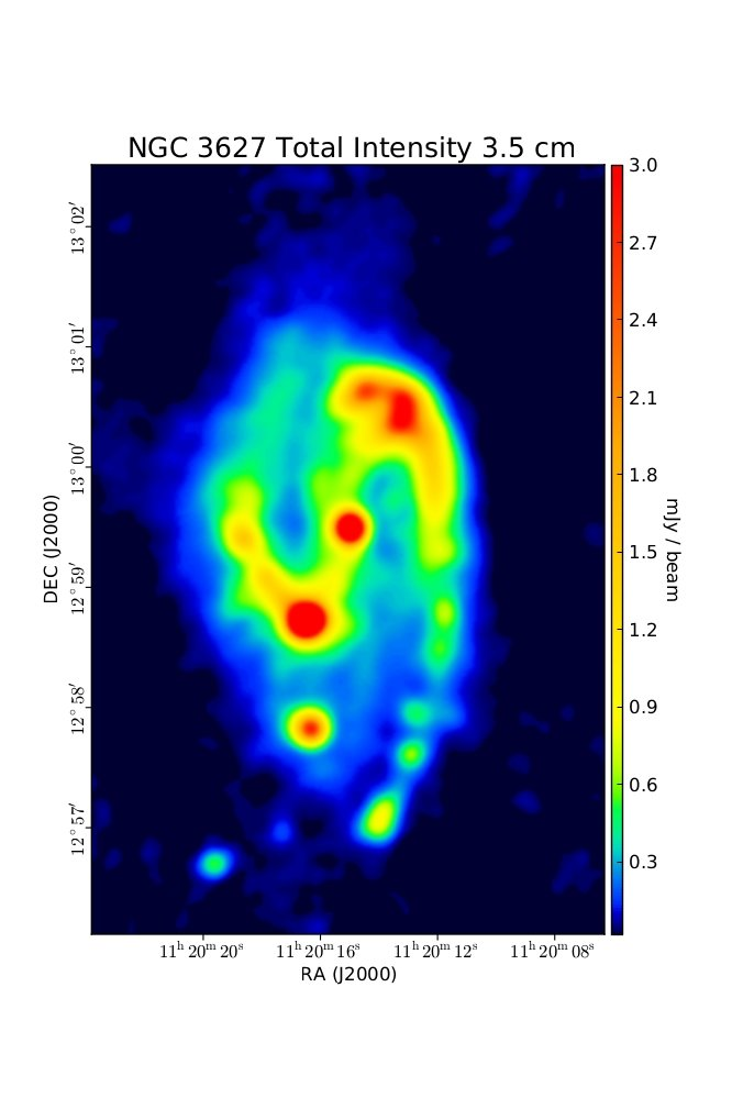 Total Intensity at 3.5 cm (8.46 GHz), Combination of VLA and Effelsberg, Resolution 11'', Soida et al. 2001
