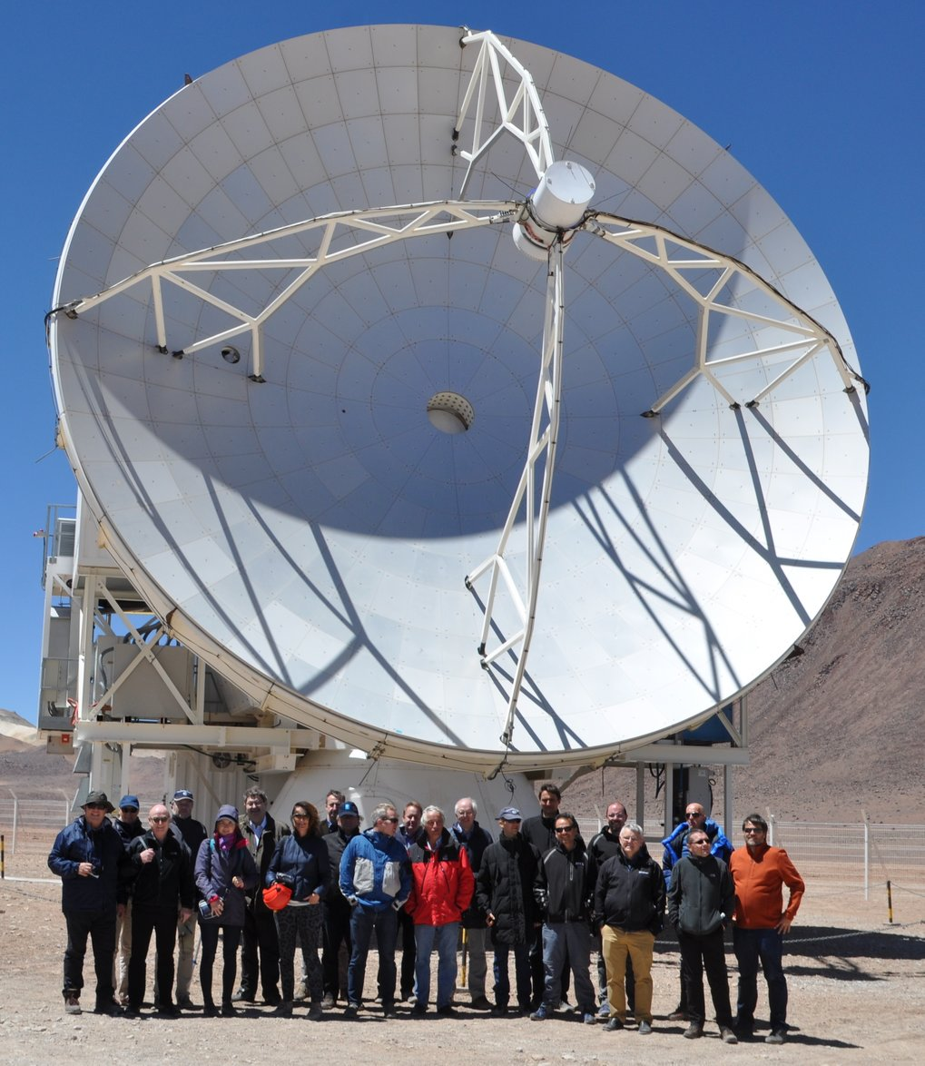 Guests of the event visiting the 12 m APEX telescope, 5100 m above sea level in the Chilean Atacama desert.