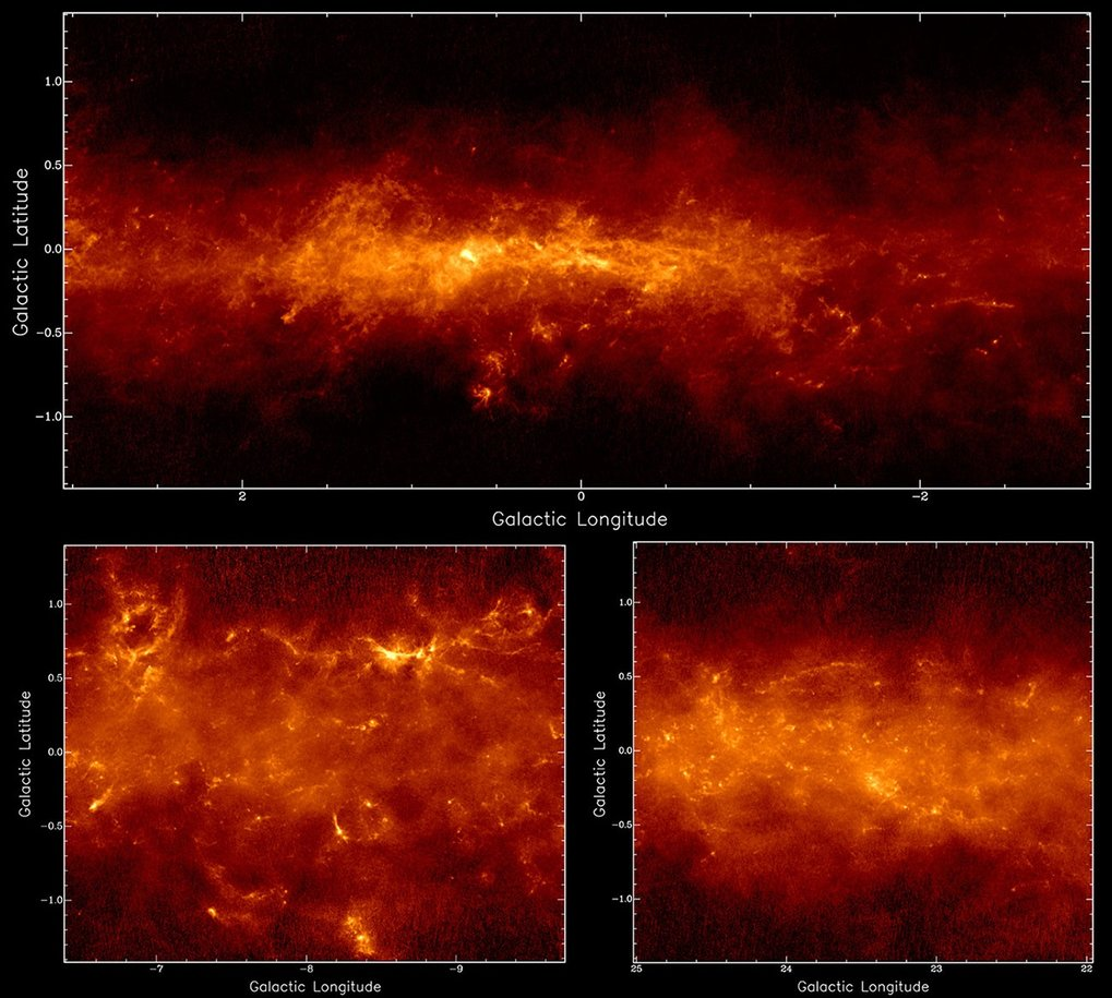 <p><em>Three areas of the Galactic plane as seen by the APEX LABOCA camera merged with large-scale images from the Planck satellite. Above: 6 x 3 degree field centered on the Galactic centre (constellation: Sagittarius). The bright source left of the middle is Sgr B2. Lower left: Field towards constellation &ldquo;Scorpius&rdquo; with NGC 6334 as brightest source (overlap with Fig. 2). Lower right: field towards constellation &ldquo;Scutum&rdquo;. </em></p>