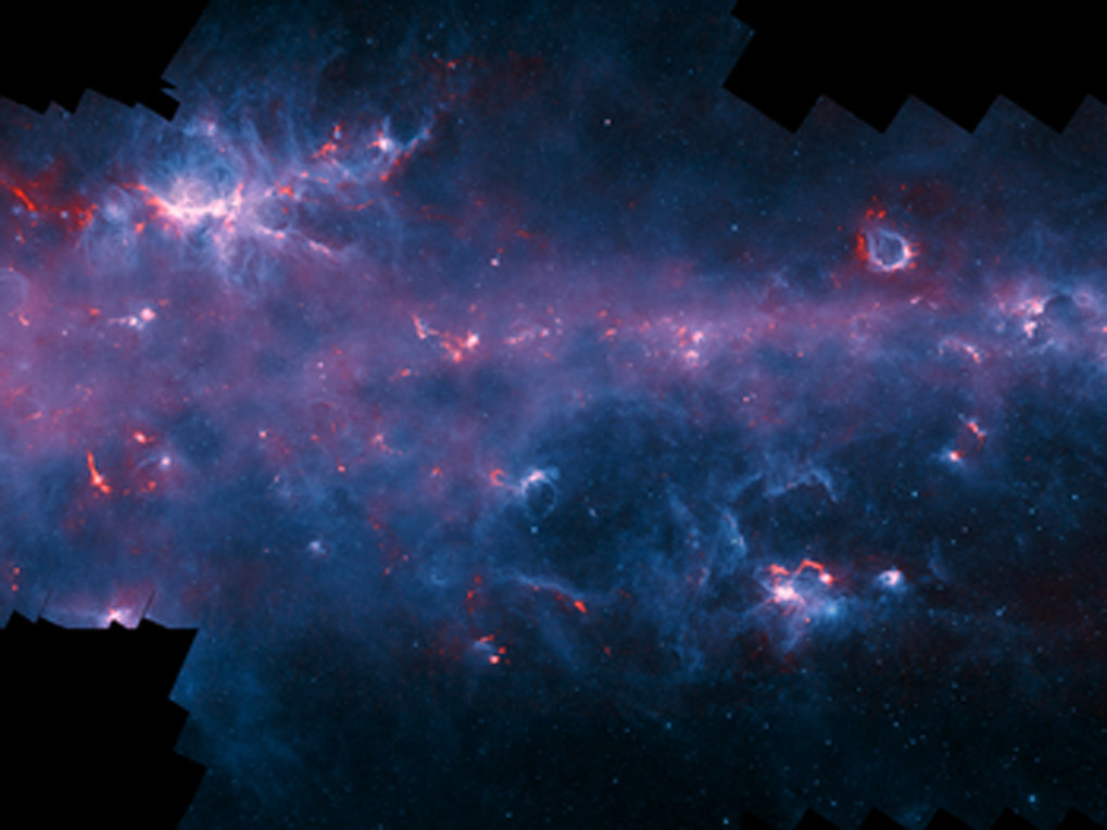 <p><em>Image of the Milky Way in the direction of the constellation Scorpius with the NGC 6334 (Cat&rsquo;s Paw Nebula, upper left) and the emission nebula RCW 120 (upper right). The APEX data, at a wavelength of 0.87 millimetres, shows up in red and the background blue image was imaged at shorter infrared wavelengths by the NASA Spitzer Space Telescope as part of the GLIMPSE survey.</em></p>