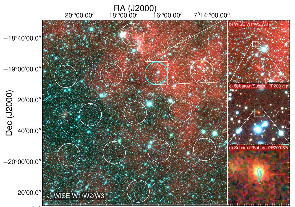 <p><em>The infrared image on the left shows the field of view of the Parkes radio telescope with the area where the signal came from marked in cyan. On the right are successive zoom-ins on that area. At the bottom right is the Subaru optical image of the FRB galaxy, with the superimposed elliptical regions showing the location of the fading 6-day afterglow seen with ATCA.</em></p>