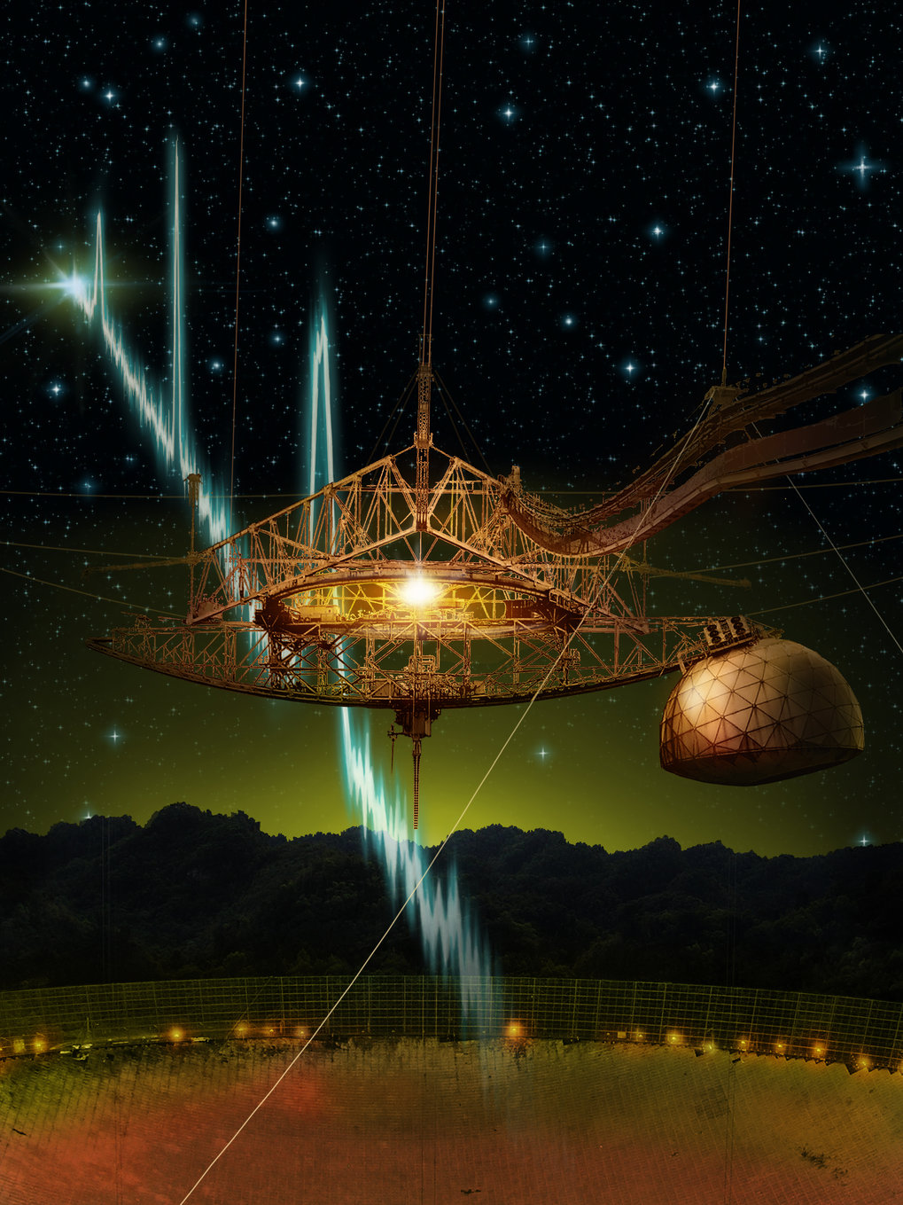The 305-m Arecibo telescope and its suspended support platform of radio receivers is shown amid a starry night.  From space, a sequence of millisecond-duration radio flashes are racing towards the dish, where they will be reflected and detected by the radio receivers.  Such radio signals are called fast radio bursts, and Arecibo is the first telescope to see repeat bursts from the same source.