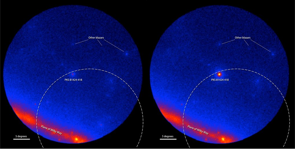 Fermi LAT images showing the gamma-ray sky around the blazar PKS B1424-418. Brighter colors indicate greater numbers of gamma rays. The dashed arc marks part of the source region established by IceCube for the Big Bird neutrino (50-percent confidence level). Left: An average of LAT data centered on July 8, 2011 covering 300 days when the blazar was inactive. Right: An average of 300 active days centered on Feb. 27, 2013, when PKS B1424-418 was the brightest blazar in this part of the sky.
