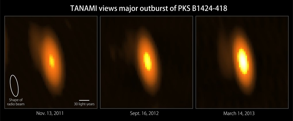 These radio images from the TANAMI project reveal the 2012-2013 eruption of PKS B1424-418 at a radio frequency of 8.4 GHz. The core of the blazar's jet brightened by four times, producing the most dramatic blazar outburst TANAMI has observed to date.