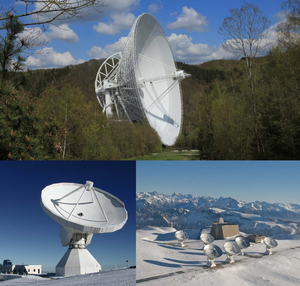 Three telescopes participating in the Global Millimetre VLBI Array (GMVA): MPIfR's Effelsberg 100m (above), IRAM's Pico Veleta 30m (lower left) and Plateau de Bure 15m telescopes (lower right).