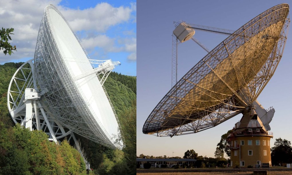 Two of the largest radio telescopes in the world, utilized for HI4PI, the high-resolution map of the full sky in the light of neutral hydrogen. Effelsberg 100-m radio telescope near Bonn, Germany (left) and Parkes 64-m radio telescope 400 km west of Sydney/Australia (right).