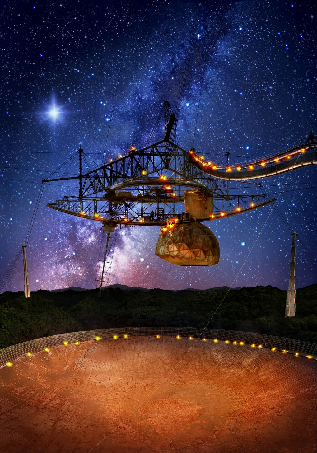 The 305-metre Arecibo telescope, in Puerto Rico, and its suspended support platform of radio receivers is shown amid a starry night.  A flash from the Fast Radio Burst source FRB 121102 is indicated, originating from deep in extragalactic space.
