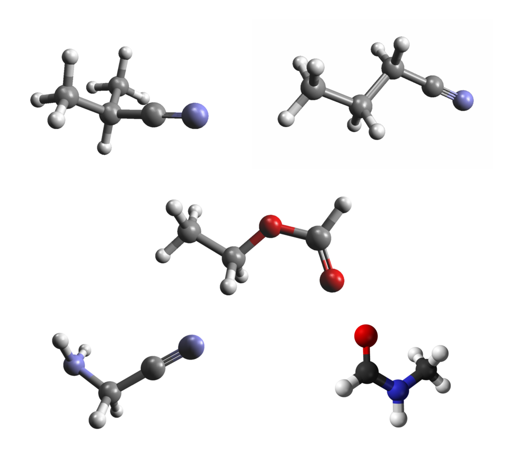 Organic molecules detected toward Sgr B2 with ALMA and the IRAM 30 m telescope. From top left to bottom right: iso-propyl cyanide, normal-propyl cyanide, ethyl formate, aminoacetonitrile, and N-methylformamide.