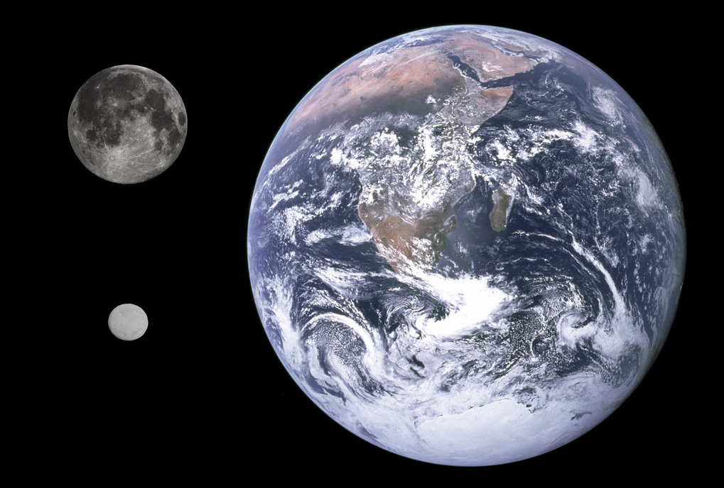 Size comparison of Earth, Moon and dwarf planet Ceres. The analysis from pulsar timing observations results in 4.7×10-10 times the solar mass, or 1.3 % of the mass of the moon for the mass of Ceres.