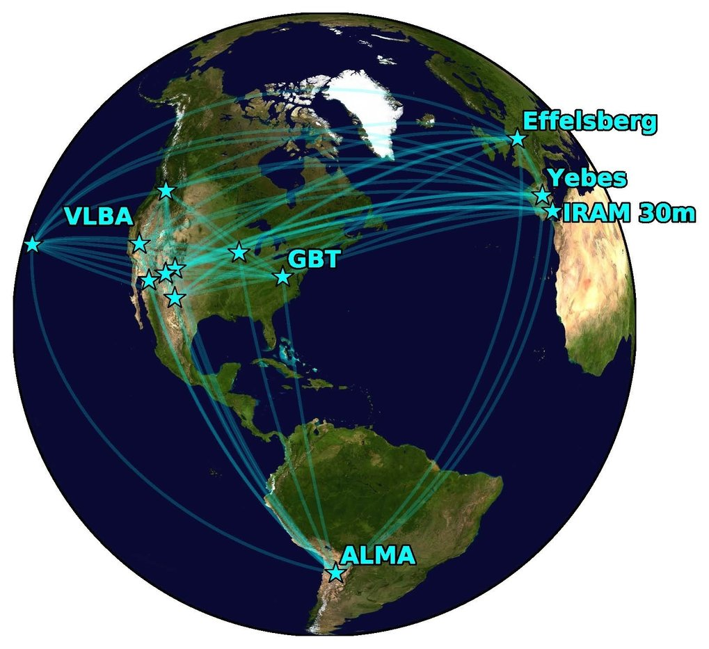 L'array Global Millimeter VLBI (GMVA), con ALMA aggiunto