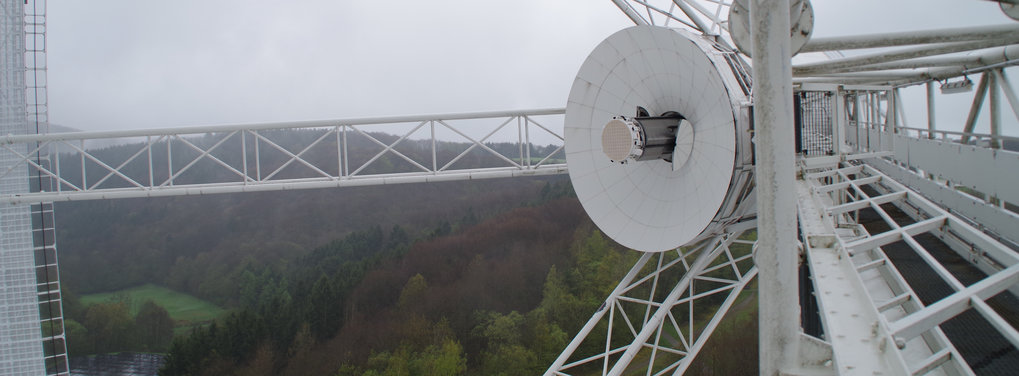 PAF receiver installed at the primary focus of the Effelsberg 100-m radio telescope.