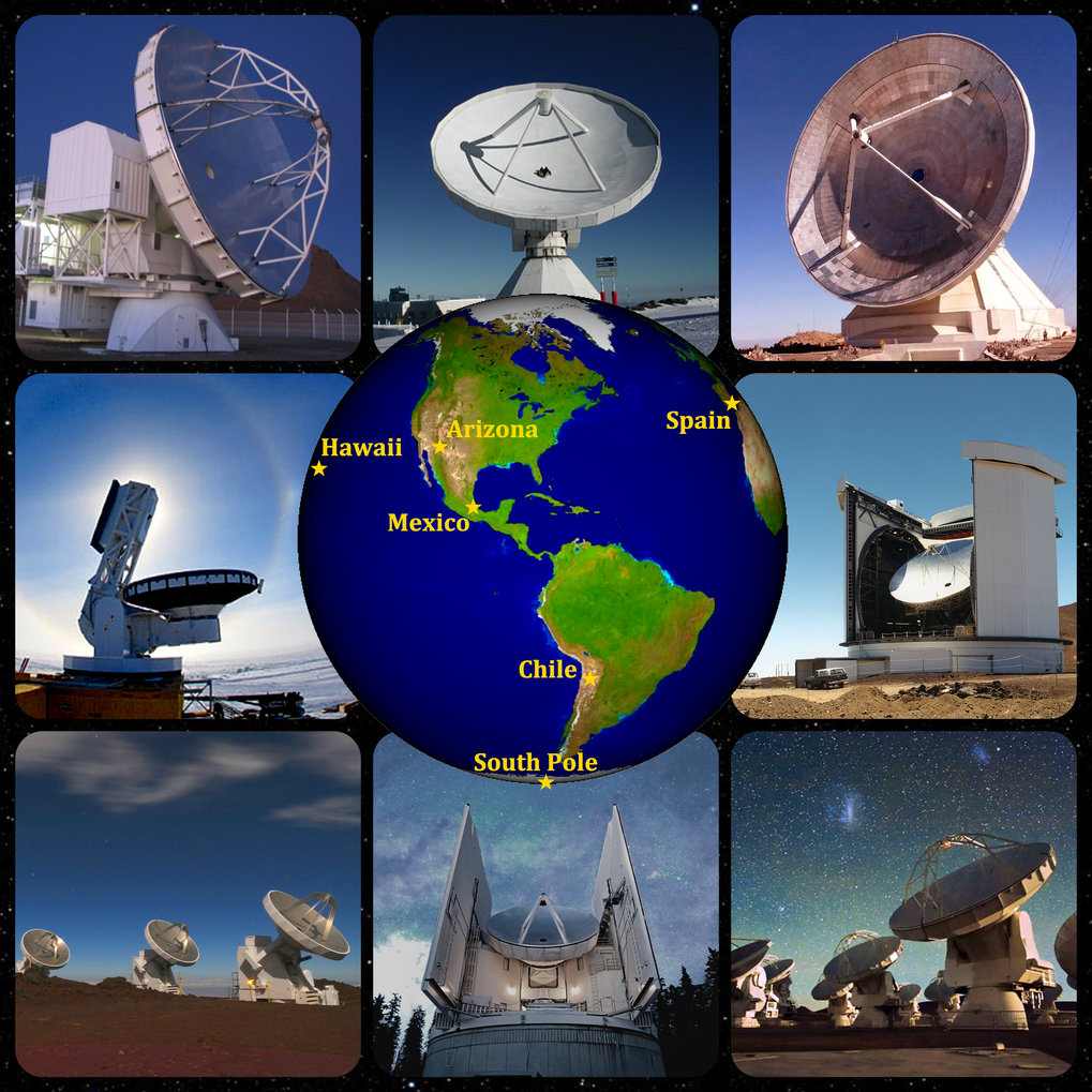 Antennas of the Event Horizon Telescope used in April 2017 (clockwise from upper left): APEX, Pico Veleta, LMT, JCMT, ALMA, SMT (Heinrich Hertz Telescope), SMA, SPT.