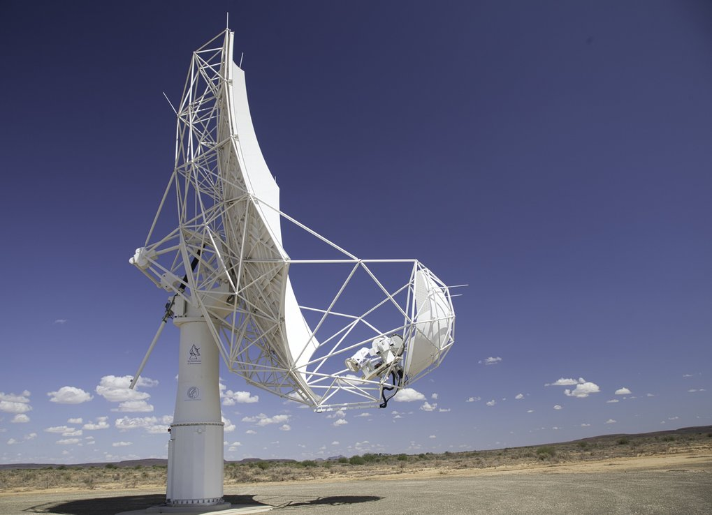 The SKA-Max Planck Dish Demonstrator operating at the South African SKA site in the Karoo desert.