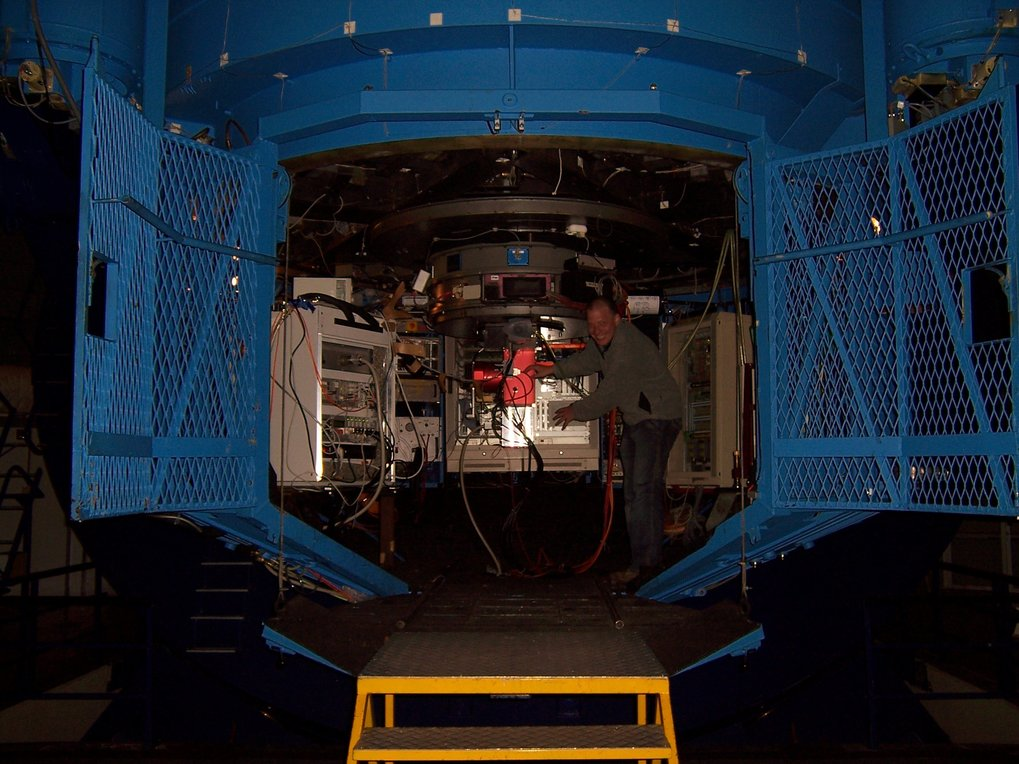 Secondary focus cage with installed Speckle camera at ESO 3.6m La-Silla, Chile © Claus Connot