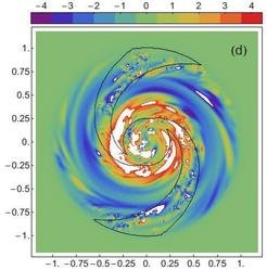 Azimuthal magnetic field component in a dynamo model with continuous injection of turbulent magnetic fields in the spiral arms (black contour lines). The colour scale indicates the field strength in μG, the sign its polarity (Moss et al. 2013).