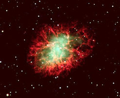 "Optical image of Messier 1 (""Crab Nebula""), the remnant of a supernova explosion observed in 1054 by Chinese astronomers. Within the source is a fast rotating pulsar. Image & Credit: Sven Kohle."