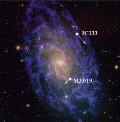 "Optical image of the galaxy Messier 33 in the constellation ""Triangulum"". Positions of water masers used for an accurate distance determination are marked (see MPIfR press release from March 04, 2005)"