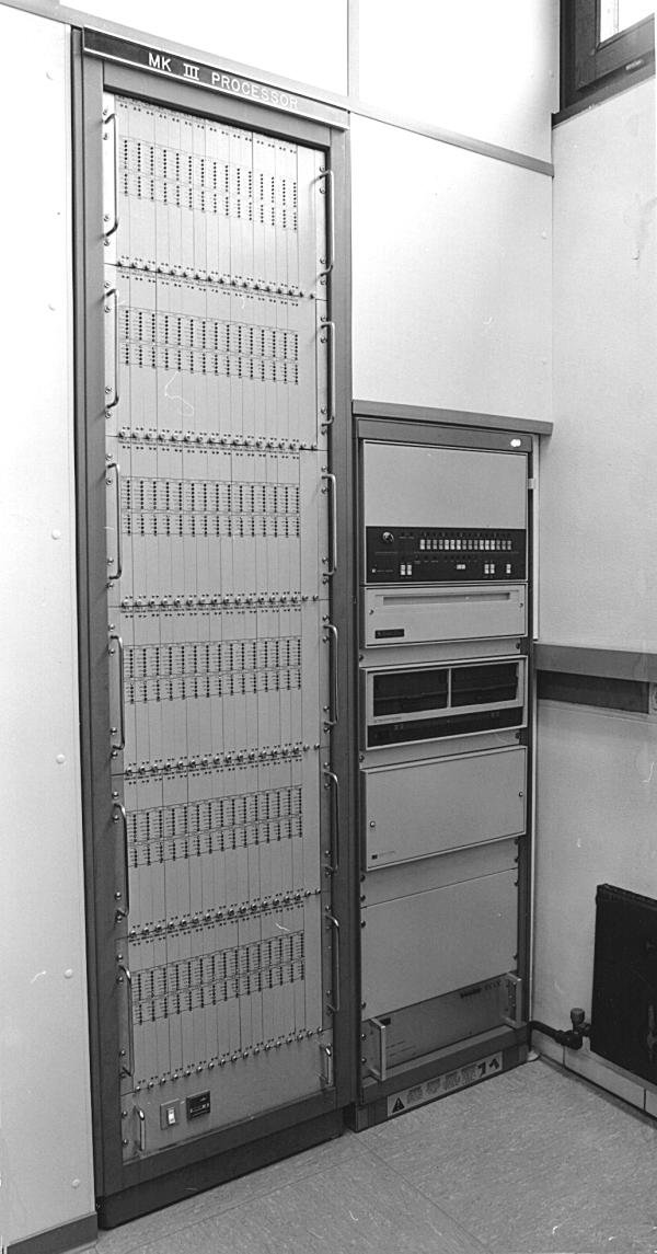 1982MK III Correlator with 6 crates at workwith 3 Honeywell H96 playback drives (November 82)